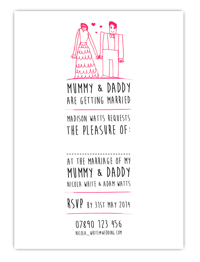 Mr Mrs White Wedding Invitation